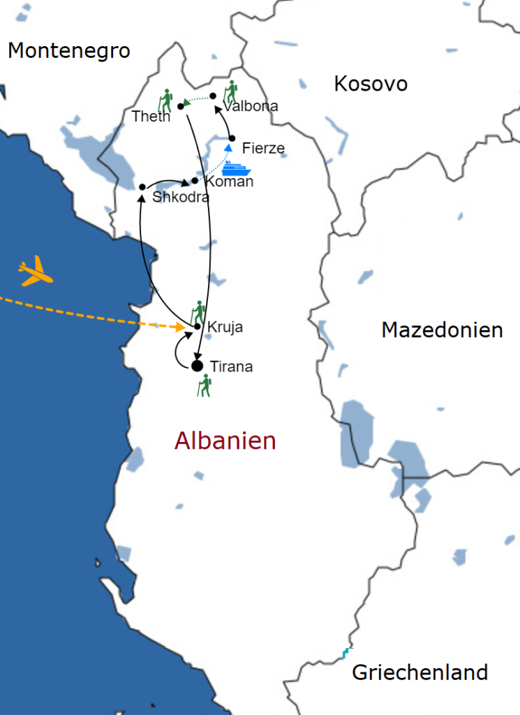 Karte Zu Gast in den Albanischen Alpen